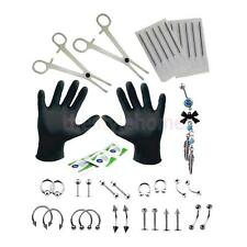 MagiDeal 18G Body Piercing Kit 41pcs Stainless Steel Tongue Eyebrow Nose Nipple