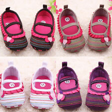 Fashion Toddler Baby Girls Flower Ruffled Shoes Soft Sole Crib Shoes Prewalkers