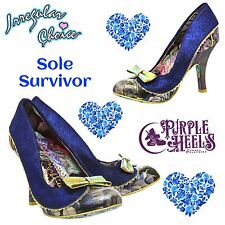 Irregular Choice Sole Survivor Royal Blue Ponyhair Floral Bow Heel UK5-6/38-39