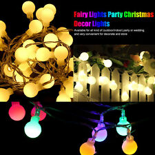 30/50LED Ball Globe Lights Outdoor String Light Patio Warm White/Colorful ES
