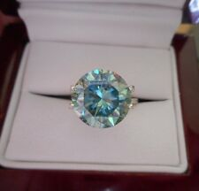 HYPNOTIC! 2.58 ct VS1 8.95 mm FANCY GREEN BLUE PEACOCK LOOSE ROUND MOISSANITE