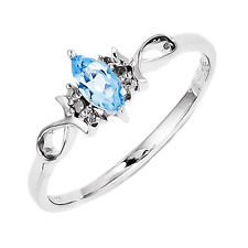 925 Sterling Silver Blue Topaz and Diamond Ichtus Ring - 0.252cttw