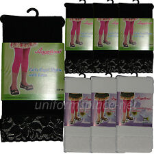 3 pairs Angelina Girls Capri Tights with Lace, School Uniforms Footless Tights