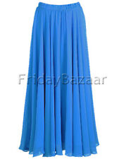 Dodger Blue | Chiffon 2 Layer Reversible Long Skirt Full Circle S~3XL | 25 Color