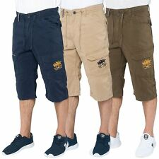Santa Monica Polo Club Mens Combat Cargo Shorts Knee Length Casual Branded Pants