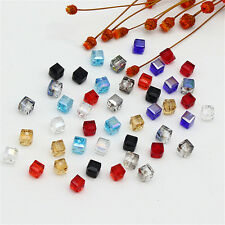 DIY Spacer Beads 4mm/6mm Faceted Loose Glass 10Pcs Square Crystal Cube