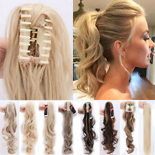 Lady Clip In Ponytail Pony Tail Hair Extension Claw On Hair Piece Curly Wavy PE5