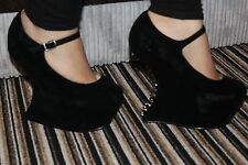 Spiked Gravity Wedge Heels WEDGE CHUNKY WOMENS Heel Basic Party PUMPS HIGH TOE