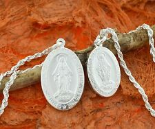 Holy Mary Oval Medal-Sterling Silver-Virgin Mary,Catholic,Holy,Miraculous,Saint