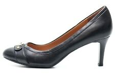 Womens TOMMY HILFIGER black leather pumps casual shoes heels sz. 9.5 M