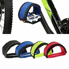 Hot 1pairs Black Cycling Bike Anti-slip Bicycle Pedals Toe Clips Straps Fixie UK