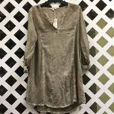 Mystree Womens Olive Green/Brown Tunic Long Sleeve SZ S, M, L