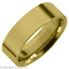 MENS WEDDING BAND ENGAGEMENT RING YELLOW GOLD COMFORT FIT GLOSS FINISH 6mm
