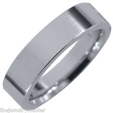 MENS WEDDING BAND ENGAGEMENT RING WHITE GOLD COMFORT FIT GLOSS FINISH 5mm