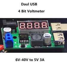 Dual USB Step Down DC-DC 12V/24V/36V to 5V 3A Buck Converter Voltmeter For Car
