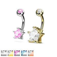 Navel piercing Banana bell Surgeon steel silver, gold, rose gold with zirconia
