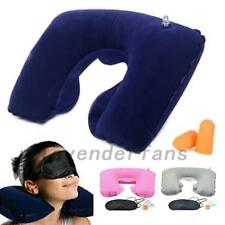 3in1 Travel Car Suit Sleeping Inflatable Neck Air Pillow Eye Mask Ear Plug Set