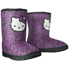 Sanrio Hello Kitty Toddler Girls Pink & Black Zebra Fur-Lined Boots 8 or 9 - NEW