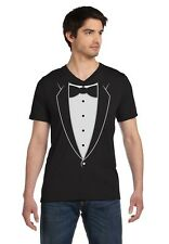 Printed Tuxedo With Bowtie Suit Funny V-Neck T-Shirt Bachelor Party Easy Costume