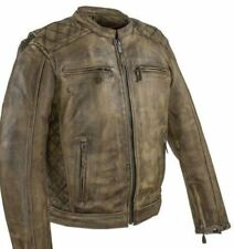 MEN'S MOTORCYCLE DISTRESSED BROWN LEATHER RACER VENTED JACKET W/2 GUN POCKETS