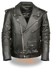 MEN'S MOTORCYCLE MC POLICE STYLE LEATHER JACKET WITH SIDE LACES COW LEATHER NEW