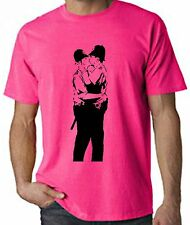 BANKSY KISSING COPPERS NEON T-SHIRT - Police Cops - Choice Of Colours FREE P&P