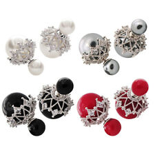 Fashion Hollow Out Simulated Pearl Jewelry Rhinestone Color Earrings Eardrop