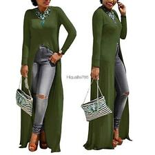 Women Sexy Long Sleeve Solid O Neck Front Split Clubwear Party Maxi HE8Y
