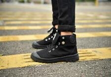 Mens Lace Up Flat Heels Military Hiking Shoes Canvas Ankle Boots Outdoor Fashion