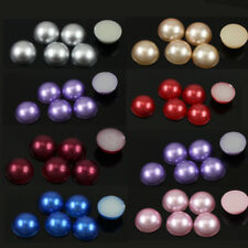 20/200Pcs New Half Beads 10mm Pearl Scrapbooking Craft Multi Colors Wholesale