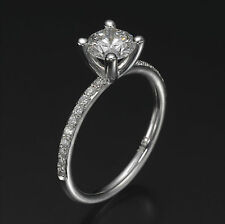 0.70 CT Certified Enhanced Round Diamond Engagement Ring 14K White Gold D/VS2