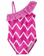 Nwt Gymboree Swim Shop Pink Chevron Print One Piece Swimsuit Size 12-18 Months