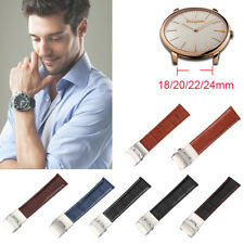 4 Sizes Genuine Leather Watch Strap Band  Deployment Clasp Width 18/20/22/24mm