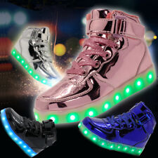 Kids Boys Girls LED Light Up Shoes USB Casual Luminous Sneakers Lace Up High Top