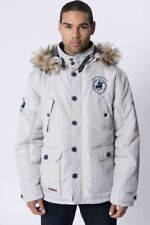 Santa Monica Polo Club Mens Heavy Parka Jacket Quilted Hooded Faux Fur trim Coat