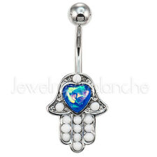 Blue Heart Opalite Hamsa Belly Ring, 14G 316L Surgical Steel Navel Ring #3092