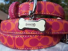 NEW COACH ORANGE PINK PRINT 61917 XS SMALL LEATHER DOG COLLAR XS S