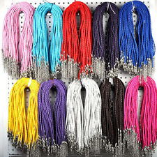 10/100pcs New Leather Cord Necklace With Lobster Clasp Charms Jewelry DIY 46cm