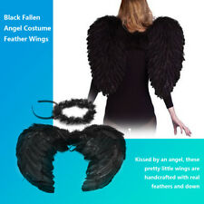Party Costume Feather Black Dark Angel Wings Halo Halloween Fancy Dress Gothic