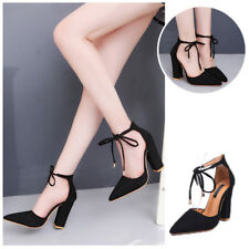 1 Pair 6 Colors Pointed Pumps Sexy Retro High Thick Heels Shoes