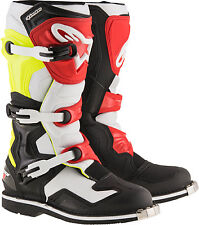 NEW ALPINESTARS TECH 1 BOOTS BLACK/WHITE/YELLOW/RED [FAST SHIPPING]