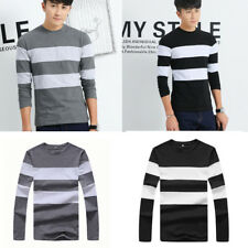 Casual T Shirts Stripe Mens Slim T-Shirt 1Pcs Men's Shirts O Neck T Long Sleeve