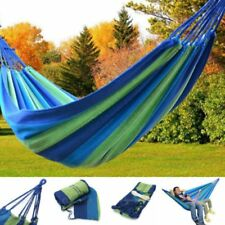 Portable Cotton Rope Outdoor Swing Bed Fabric Camping Hammock Canvas with Bag