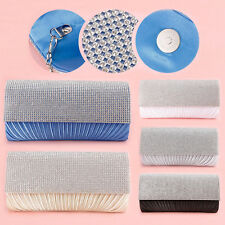 Satin Clutch Evening Bag Pleated Diamante Wedding Party Clutches Bag for Ladies