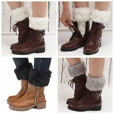 Women Lady Winter Crochet Boot Cuffs Fur Knit Toppers Boot Socks Leg Warmers
