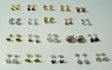 Yellow Gold Plated Earrings 9k White Gold Womens Girls Simulated Gemstone stud