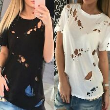 Women Ripped Distressed Tees Ladies Short Sleeve T Shirt Tops Casual Blouses