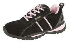 New Black / Pink Real Suede Ladies Safety Trainer Shoes Flexi Comfort Safety Toe