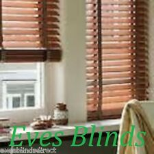 MADE TO MEASURE DARK OAK WOODEN WOOD VENETIAN BLIND WITH TAPES
