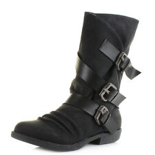 Womens Blowfish Alms Black Texas PU Pisa Mid Calf Boots Size
